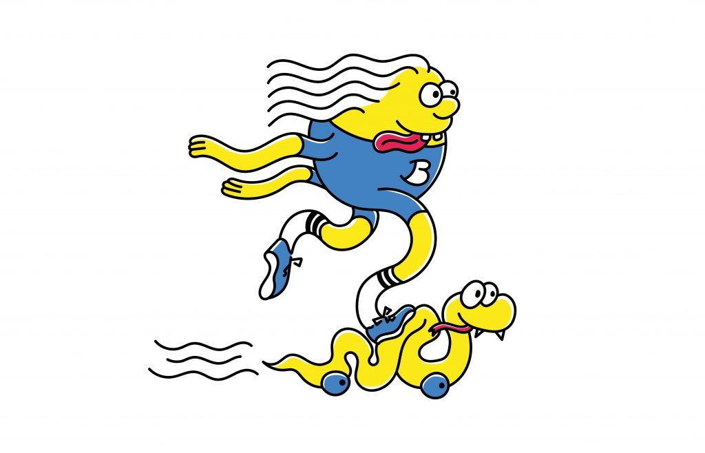Mascotte Blast Skateboard redessiné. Avec ces membres caoutchouteux et sa langue pendante, la mascotte Blast skateboard pousse à toute vitesse sur son serpent skateboard.
