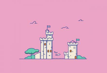 Vignette représentant une illustration des deux Tours de la ville de La Rochelle faites de couleurs vives.