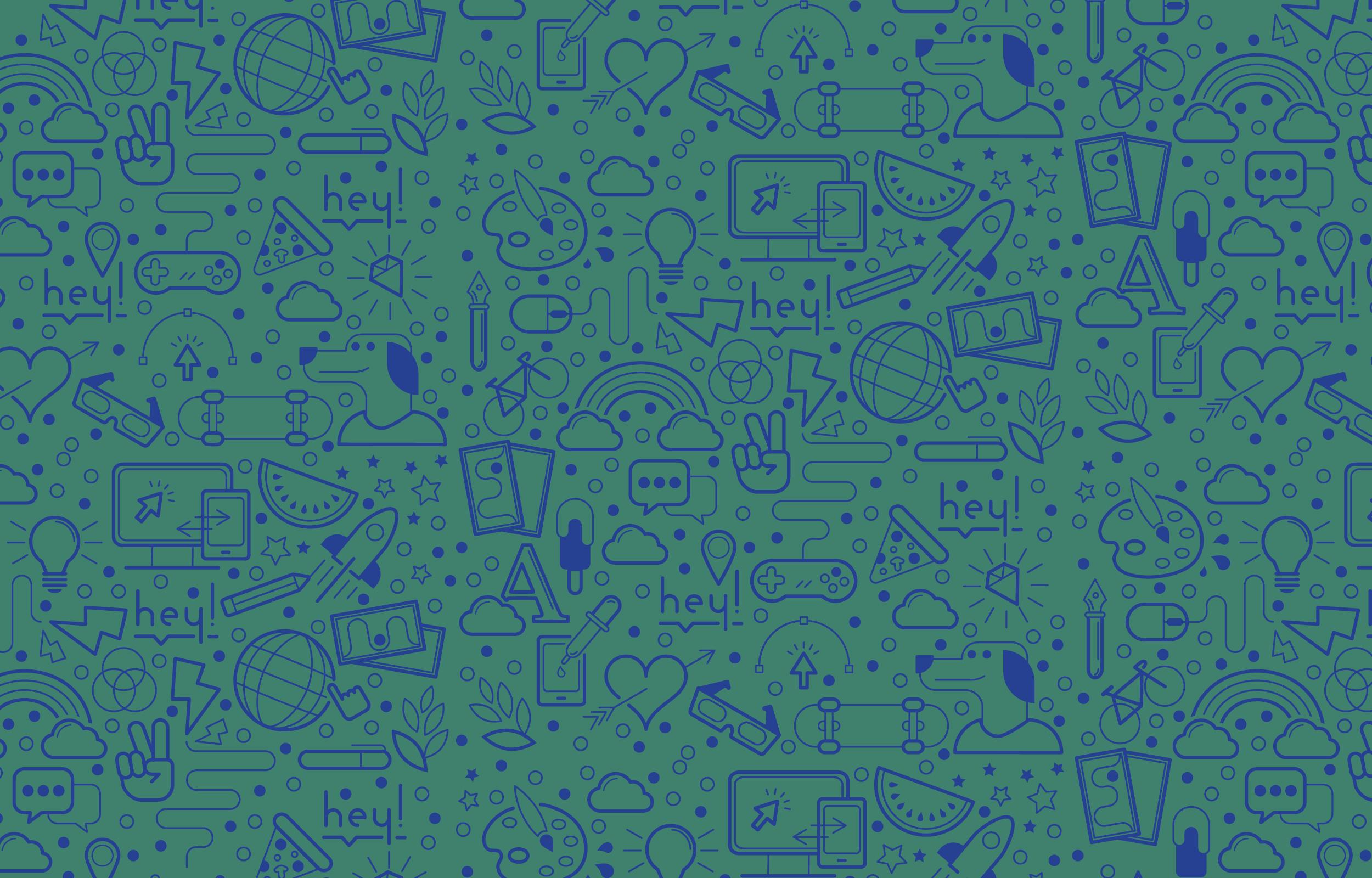 Mosaïque d'éléments graphiques illustrant l'activité de design graphique pour le sitemap et les mentions légales