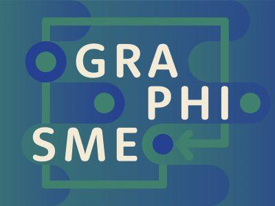 Jeux typographique et chromatique avec les couleurs vert-cyan foncé et bleu foncé en aplat et dégradé.