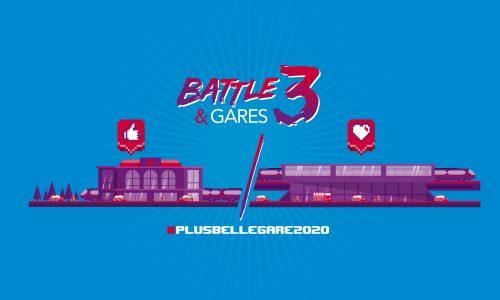 Logo Battle & Gares 3 rouge, blanc et violet. Illustration de deux gares dans un traitement 8 bits. L'ensemble des éléments visuels est disposé sur un fond bleu ciel.