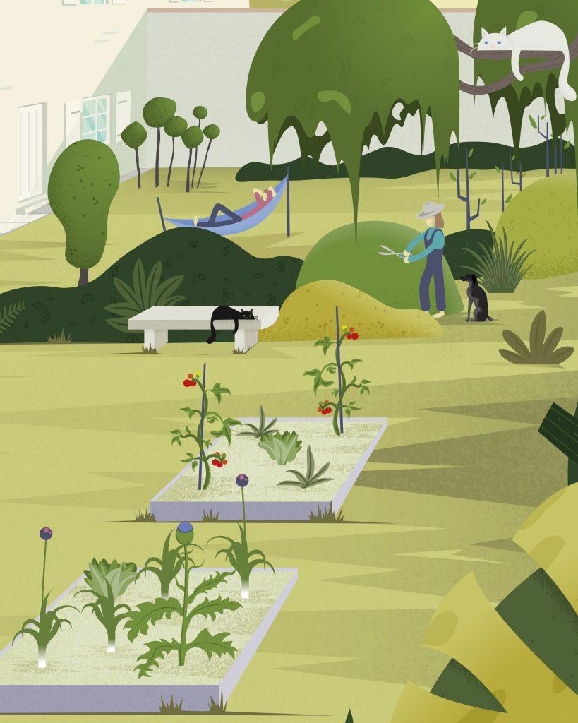 """Illustration de ma maison, mon """"home sweet home"""", situé à La Rochelle. l'illustration est légèrement plus zoomé que l'original. J'y ai dessiné le jardin, les animaux, chien et chats et nos activités dans ce magnifique lieu de verdure."""