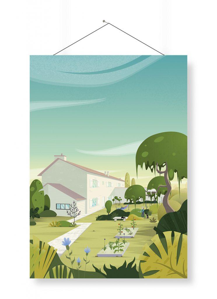"""Illustration de ma maison, mon """"home sweet home"""", situé à La Rochelle. l'illustration est présenté sous forme d'affiche. J'y ai dessiné le jardin, les animaux, chien et chats et nos activités dans ce magnifique lieu de verdure."""