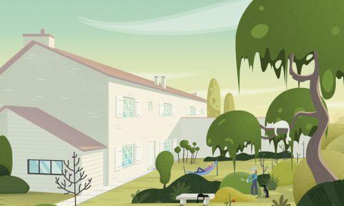 """Illustration de ma maison, mon """"home sweet home"""", situé à La Rochelle. On y retrouve la maison, le jardin, les animaux, chien, chats et nos activités, dans un style graphique de textures et dégradés vectoriels."""