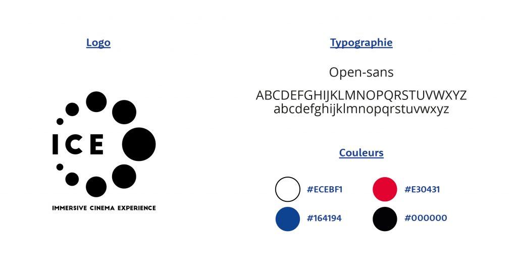 Charte graphique web de la landing page Ice Cinema, avec le logo ICE Cinema, la typographie utilisé pour la page web et les couleurs de la charte.