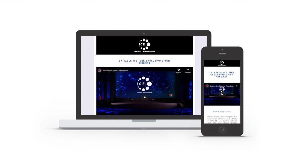 Interface de la landing page Ice Cinema intégré dans un smartphone et un ordinateur.