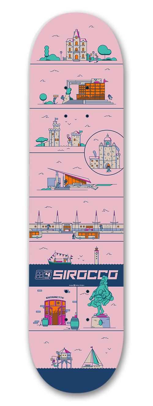 Sirocco skateboard : Design de la planche de skate pour Sirocco Skateshop. Traitement synthétique proche de l'esthétique rétrogaming. La composition s'inspire des planches de BD et permet de présenter la diversité des lieux et des espaces de la ville de La Rochelle.