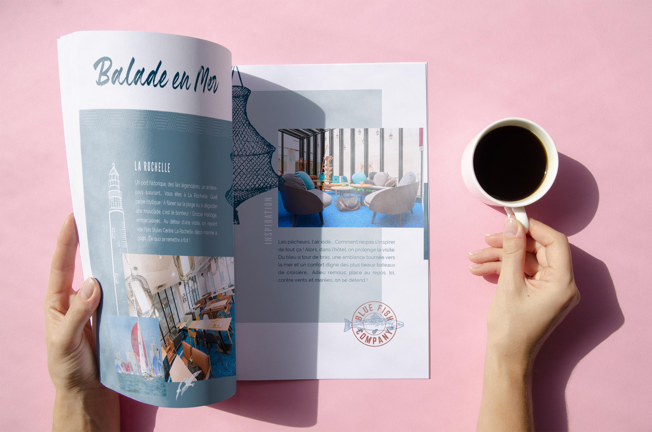 Mockup pour présenter le Look Book interactif de l'hôtel Ibis Styles La Rochelle Le Vieux Port.