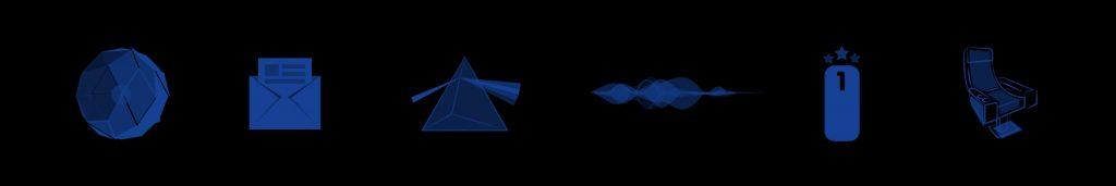 Pictogrammes illustrant les spécificités de la salle ICE : l'expérience, les services, l'audio, le confort et la qualité de projection.