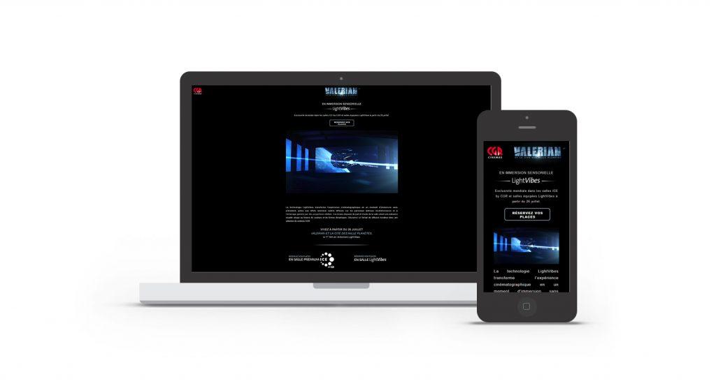 Interface de la landing page Valérian et CGR Cinémas intégré dans un smartphone et un ordinateur.