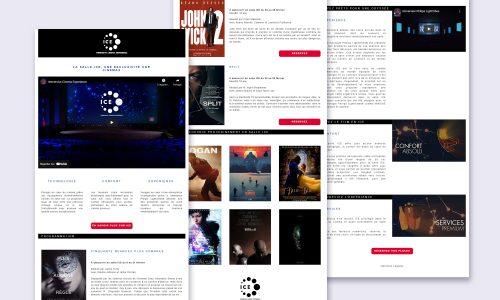 Image constitué de plusieurs parties de l'interface utilisateur de la landing page Ice Cinema.