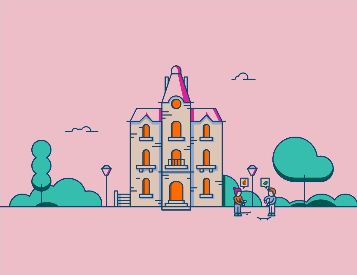 Illustration du Parc Franck Delmas situé à La Rochelle avec un traitement graphique et synthétique.