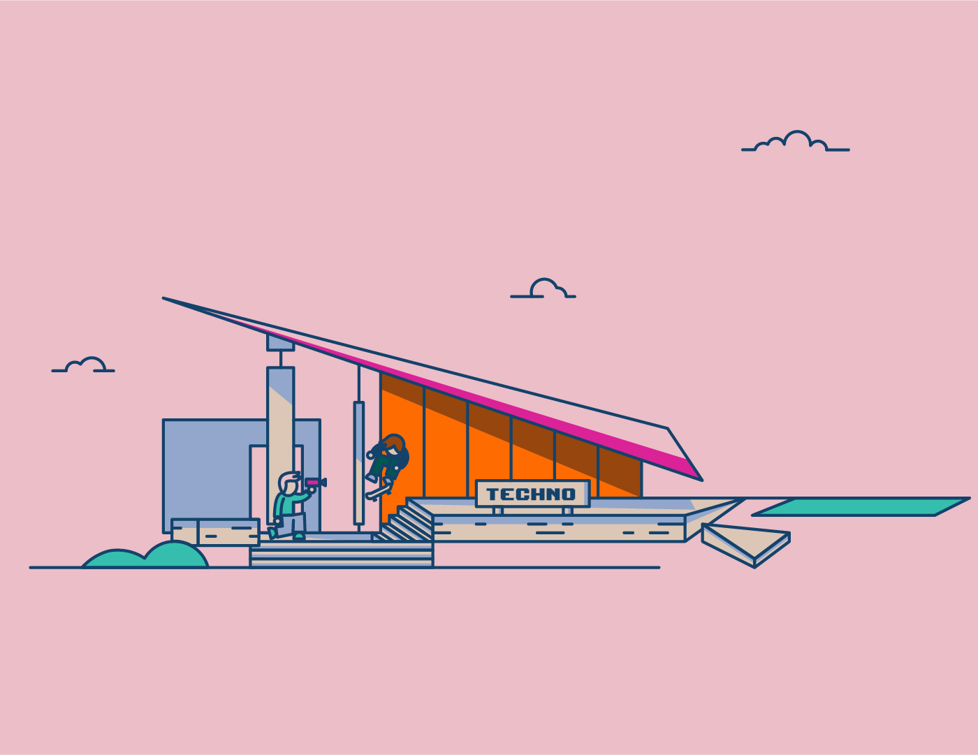 Illustration du Technoforum à La Rochelle dans un traitement graphique et synthétique.