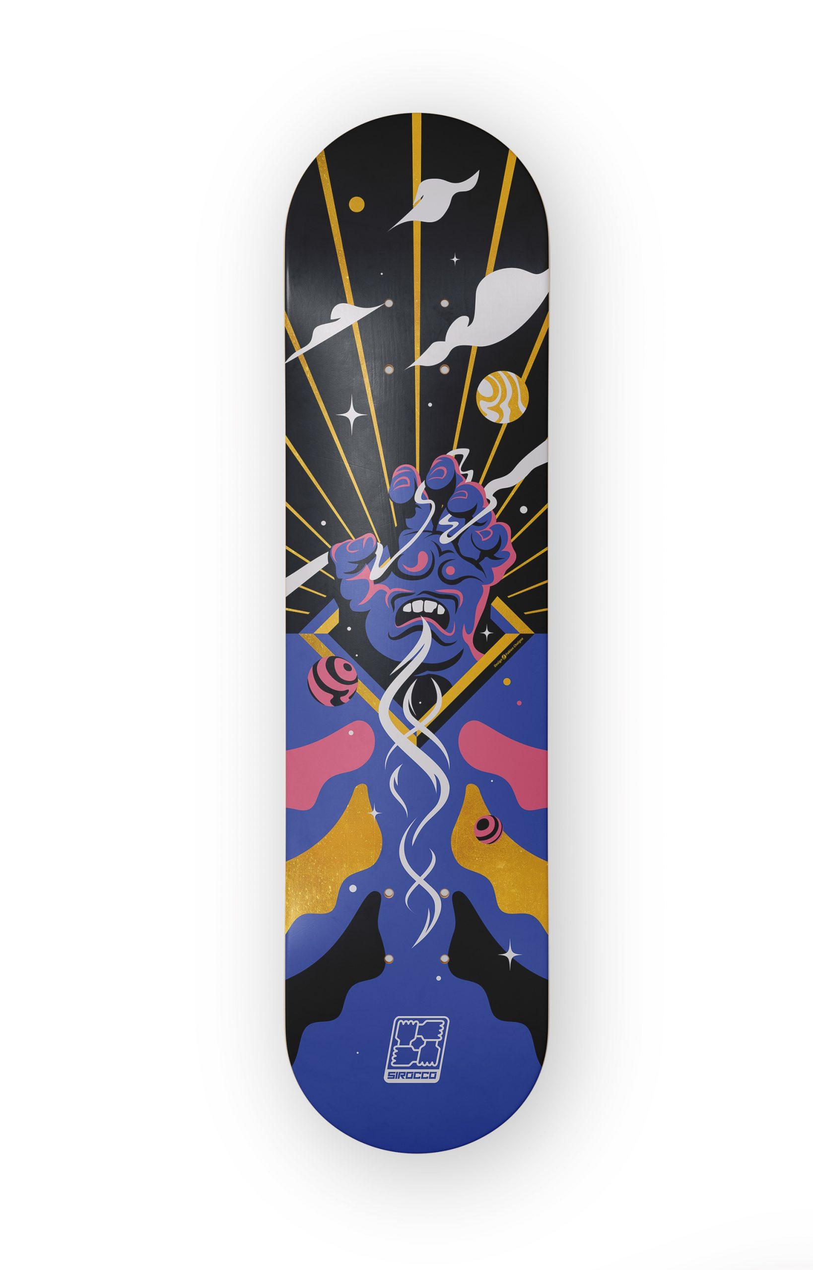 """Screaming Hand Cover : planche de skate composé d'une illustration remixant la """" Screaming Hand """" de Jim Phillips."""