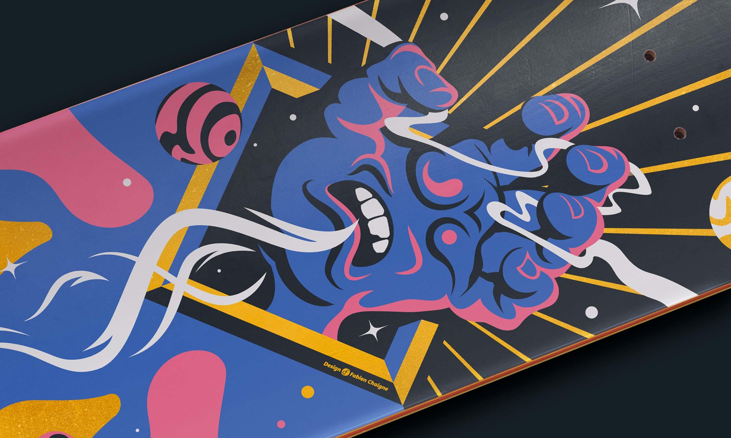 """Gros plan sur la planche de skate illustré par un remix de la """" Screaming Hand """" de Jim Phillips."""