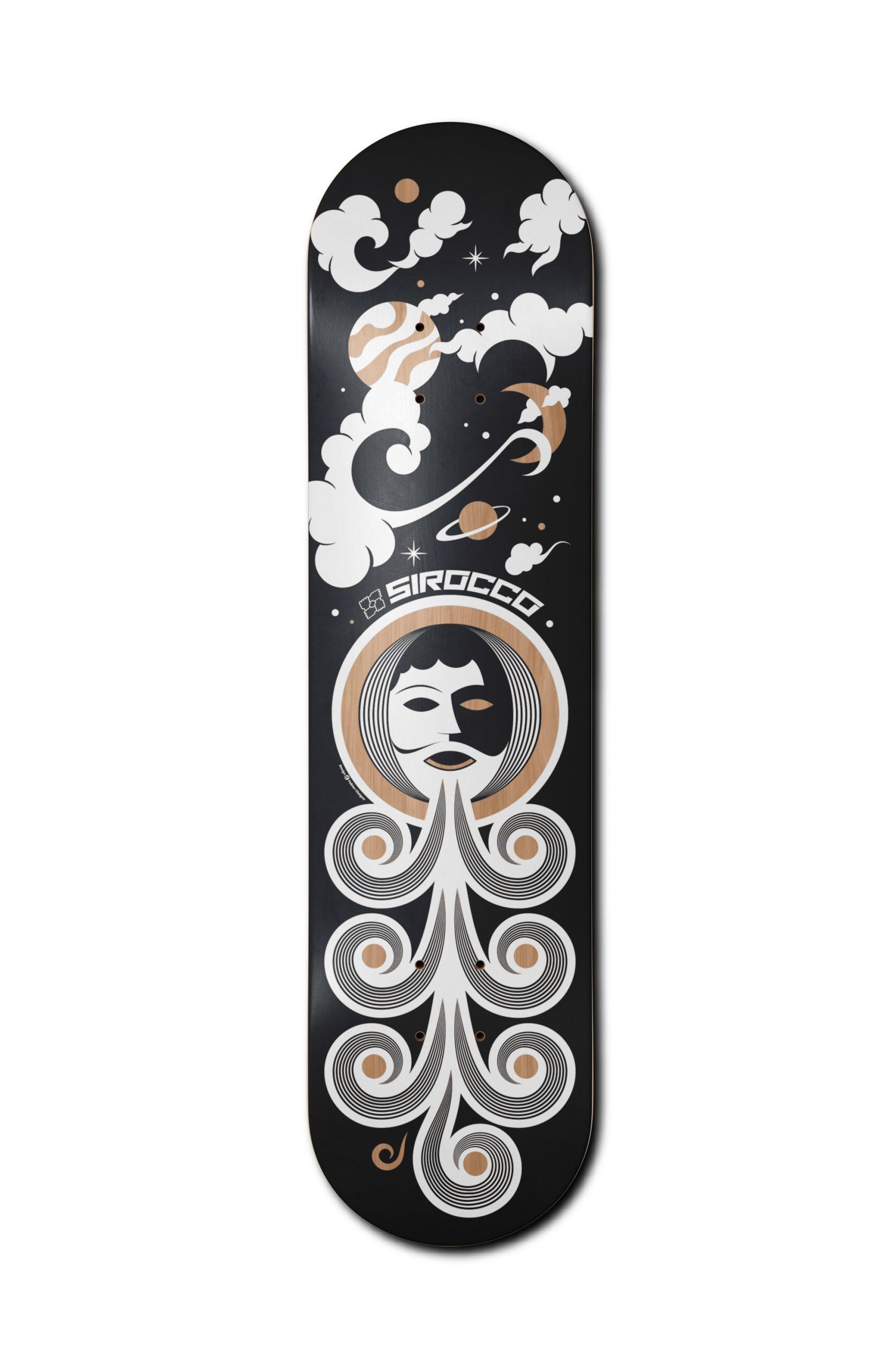 Skateboard design d'une planche de skate représentant graphiquement le dieu éole dans un univers spatial.